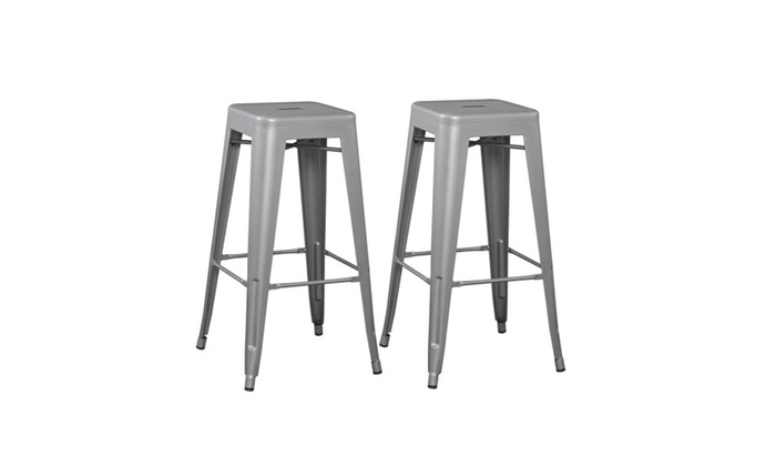 Pair Of 30 Inch Industrial Metal Silver Bar Stool Set Of 2 Barstool