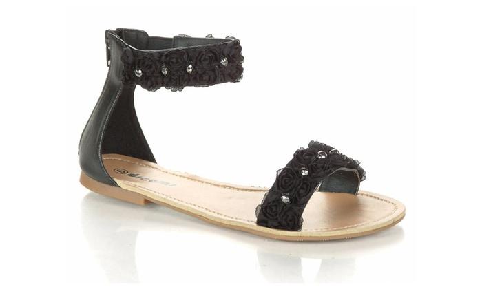 Flower Beaded Gladiator Ankle Cuff Open-toe Flat Sandal Black