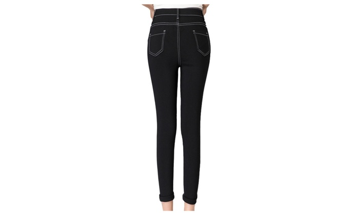 Women's High Waist Ripped Distressed Skinny Jeans Pants