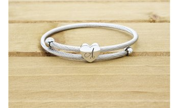 Expadable Heart Cable Initial Bracelet by Pink Box