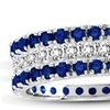 Suzy Levian 14k White Gold Sapphire Diamond 3-piece Eternity Band Ring Set