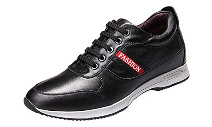 Men's Leather Lace-up High Increase Within Fashion Sneakers