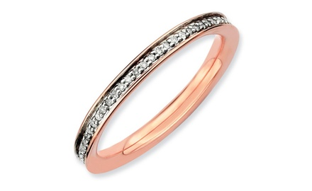 IceCarats Designer Jewelry Sterling Silver Stackable Expressions & Diamonds Pink-plated Ring