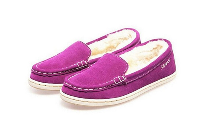 Women's Faux Soft Suede Fur Lined Moccasin Loafer