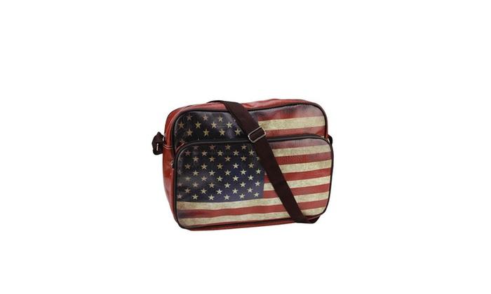"14.75"" Decorative American Flag Bag/Purse w/ Strap"