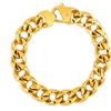 Men's Gold Plated Stainless Steel Polished Curb Chain Bracelet -8.5 in
