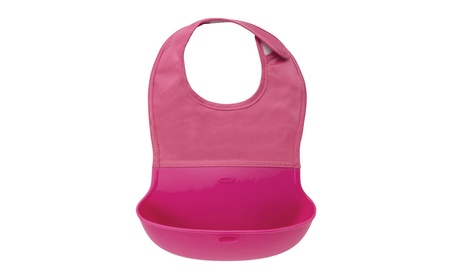 OXO Tot Waterproof Silicone Roll Up Bib with Comfort-Fit Fabric Pink ba3473ed-7bbf-4036-86c1-854afa8fd045