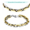 Stainless Steel Gold Plated Square Chain Link Bracelet & Necklace Set