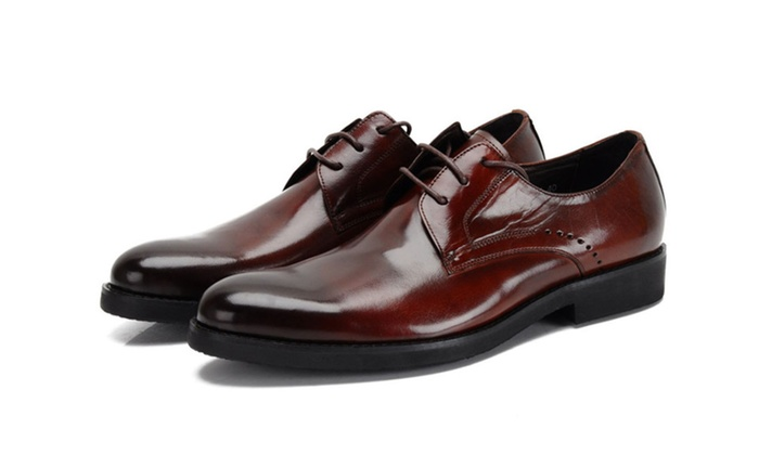 Shefetch Men's Business Lace-Up Point-Toe Leather Shoes