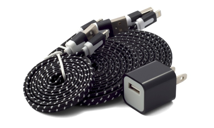 Braided Flat Noodle Lightning Iphone Cable 3 Pack Plus 1