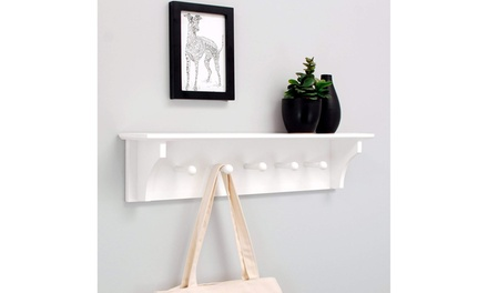 "24"" Floating Coat and Hat Wall Shelf Rack with 5 Pegs Hook 2Colors"