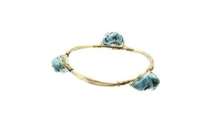 Natural Stone Brass Coil Bracelet