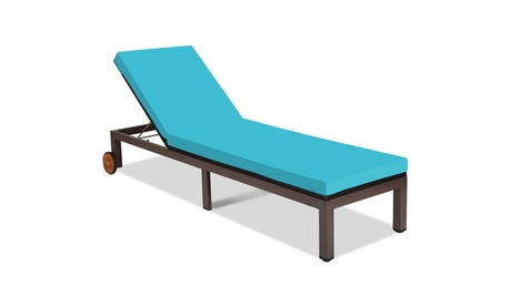 Patio Rattan Lounge Chair Chaise Recliner Back Adjustable W/Wheels Cushioned