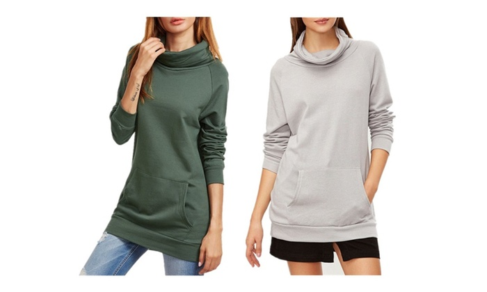 Pure Color Piles Collar Pullover Sweatshirt