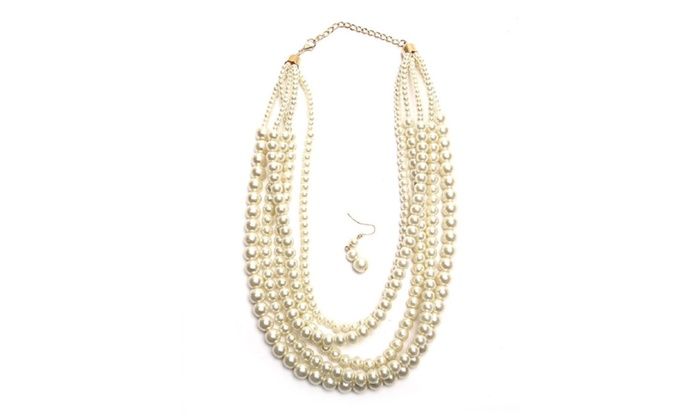 Multi Strand Cream Faux Pearl Necklace Amp Earring Set Groupon