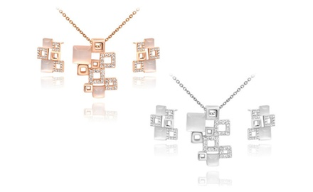 KATGI Fashion Square Puzzle with Opal and Austrian Crystal Earrings and Necklace Set