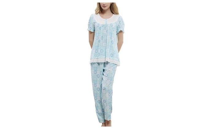 Women's Long Graphic Short Sleeve Printed Fashion Pajamas Set