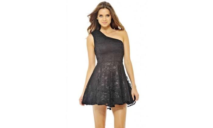 AX Paris Lace Kickout One Shoulder Dress