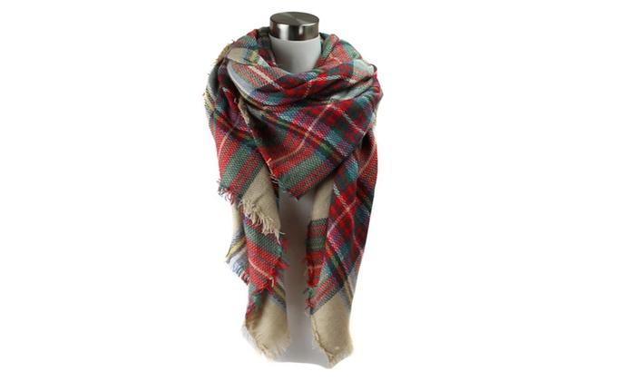 Sassy Scarves Womens Plaid Check Pattern Warm Blanket Scarf