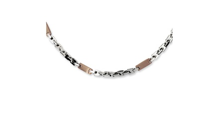 IceCarats Designer Jewelry Stainless Steel Chocolate IP-plated 24in Necklace