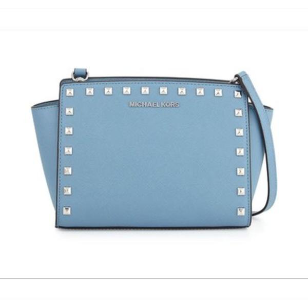afefedc64e32 Michael Kors Selma Stud Medium Leather Messenger Bag - Pale Blue ...