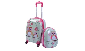 Costway 2Pc 12'' 16'' Kids Luggage Set Suitcase Backpack Travel School