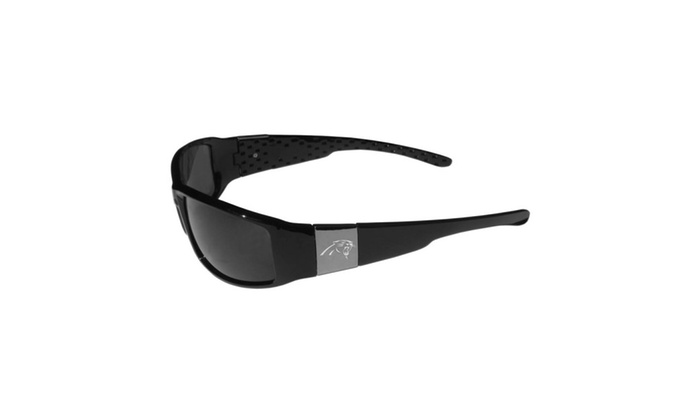 NFL Sports Team Logo Carolina Panthers Chrome Wrap Sunglasses, Black