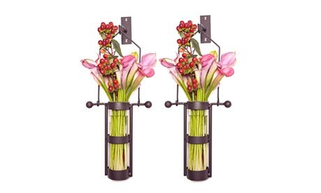 Wall Mount Hanging Glass Cylinder Vase Set with Metal Cradle and Hook 5507c773-e438-450d-9047-e7bebca02881