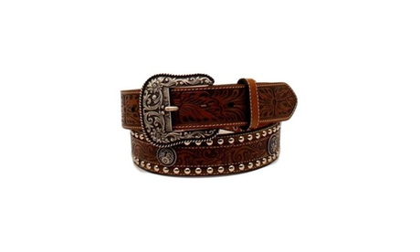 Ariat A1024802-38 1.5 in. Mens Floral Overlay Tooled Concho Western Belt Brown S