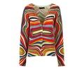 Women's V Neck Stylish Printed Single Breasted Cardigan Sweater