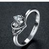 Austrian Crystal Stelux Double Heart Engagement Ring For Woman (6,7,8)