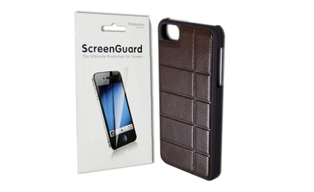 Brown Leather Hard Case + Clear Screen Protector Cover for  Apple iPhone 5 / iPhone 5s