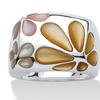 Multicolor Mother-Of-Pearl Sterling Silver Daisy Ring Sizes 7-12