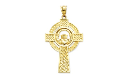 IceCarats Designer Jewelry 14k Celtic Claddagh Cross Pendant
