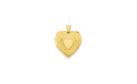 IceCarats Designer Jewelry 10kt Yellow Gold Sat/Pol Heart Locket Charm