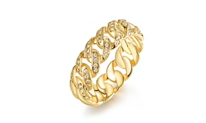 Gold Plated & Cubic Zirconia Braided Ring