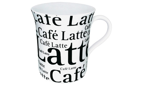 Set of 4 Mugs Café Latte Writing on White 32ef2795-66dc-4f75-a32e-bcbbf86922cd