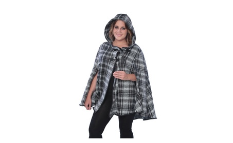 Women's Cape Coat Poncho With Hooded With Toggle On Front