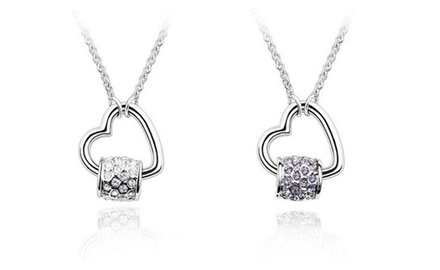 KATGI 18K White Gold Plated Austrian Crystals Rotate Heart Shape Necklace