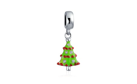 Bling Jewelry Green Enamel Christmas Tree Dangle Bead Charm 7b03ac56-1290-4f85-9b18-5f613ea1639d