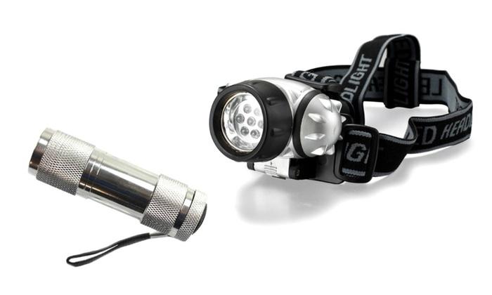 Water Resistant Bicycle LED Headlamp & LED Flashlight Combo Set