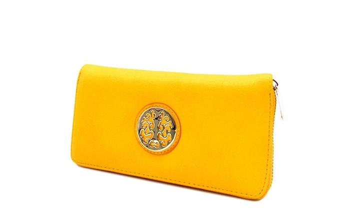 Women's Designer Rounded Symbol Zip Around Wallet WGL5099WA