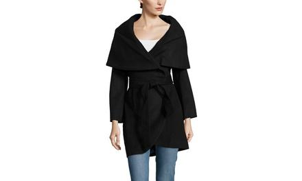 T TAHARI Marla Wool Coat With Oversize Collar and Self Belt