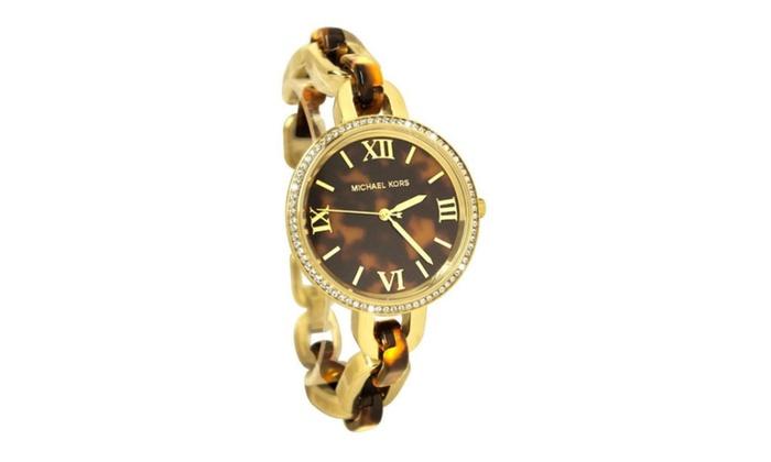 Michael kors delaney mini golden tortoise ladies watch for Michaels craft store watches