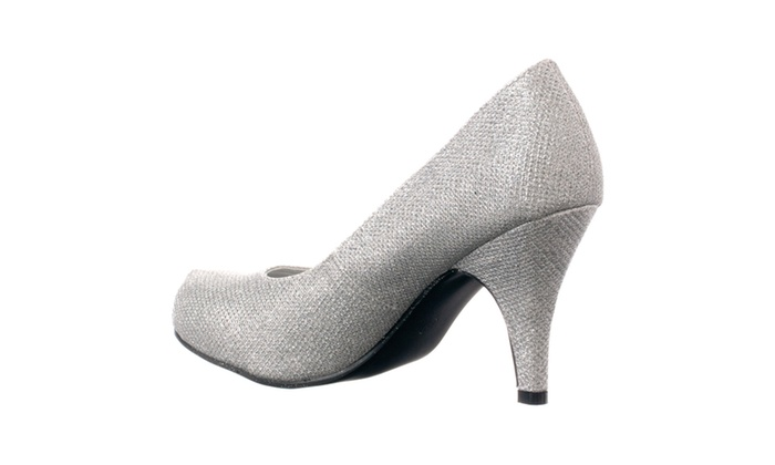 5802182d85a Riverberry 'Janet-05' Glitter Round Toe Mid-heel Pumps, Silver ...