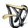 Gold &Gun Color Cross Wide Size Ring for Women