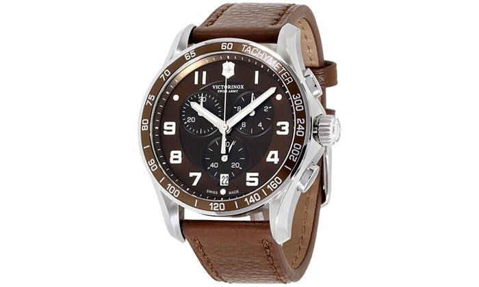 Victorinox Chrono Classic Xls Brown Dial Leather Strap Men S Watch 241653