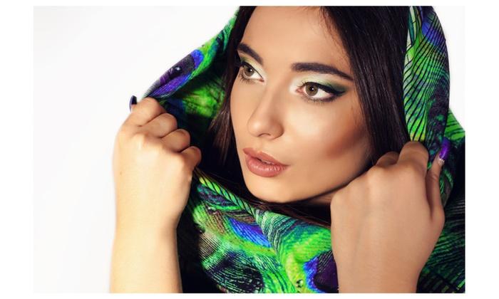 Peacock scarf – Chiffon scarf – 32″x70″