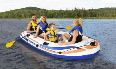 Pathfinder Inflatable River Raft Boat Set With Oars And Pump
