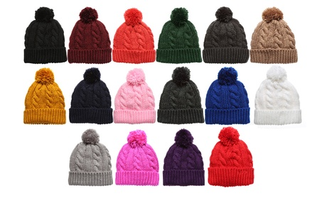 Women's Thick Oversized Cable Knitted Fleece Lined Pom Pom Beanie Hat a6ea886d-023a-4792-88cc-5b1508b5a614